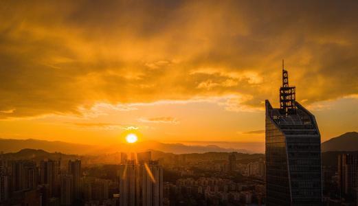 城市夕阳日落唯美景观