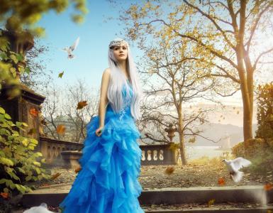 女王,天使,女人,鸽子,CGI,高清
