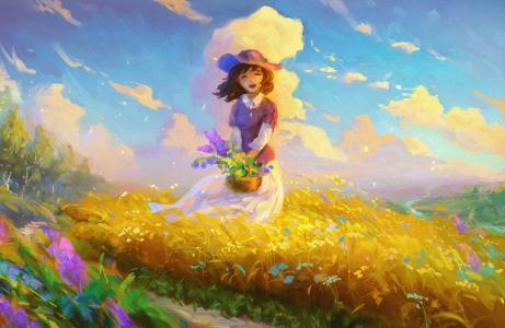 可爱的女孩,快乐的女孩,图稿,高清