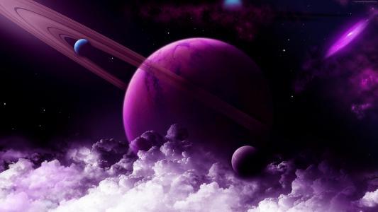 土星,星球,紫色,4k(水平)