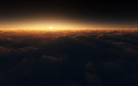 云,日落,黑暗,高清