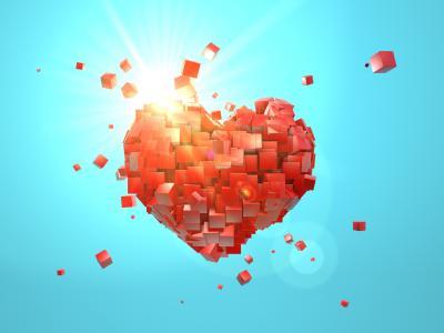 爱的心,多维数据集,摘要,3D,高清,4k