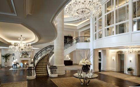 文华东方酒店,古典,白色,丰富,城堡,里面,楼梯,房间,客厅,消防,舒适,地方(水平)