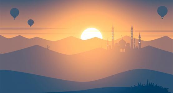 日落,清真寺,热气球,景观,最小,4 k