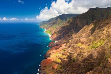 山,夏威夷,海滨,高清