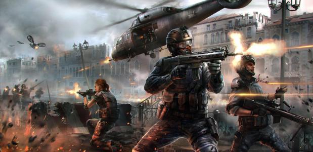现代战争5:停电,游戏,MMO,射手,MMOFPS,战斗,士兵,武器,枪,火花,直升机,烟雾,个人电脑,iOS,4k,5k(水平)