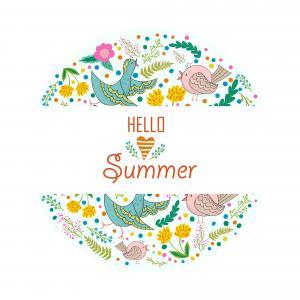 你好夏天,花卉,设计,花,鸟,4K
