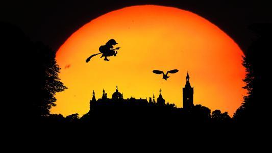 魔术师,飞天扫帚,女巫,童话,堡垒