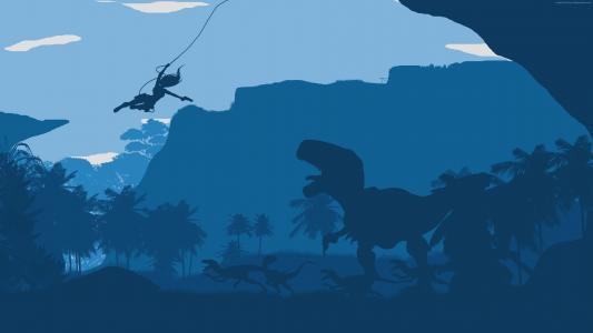 古墓丽影,森林,恐龙,蓝色,平(水平)