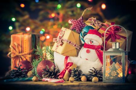 新年,圣诞节,礼物,雪人,4k(水平)