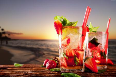 鸡尾酒,热带,海滩,水果,草莓,冰,薄荷(水平)