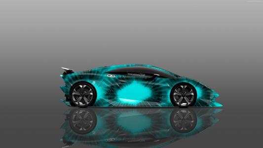 兰博基尼元素,超级跑车,蓝色(水平)