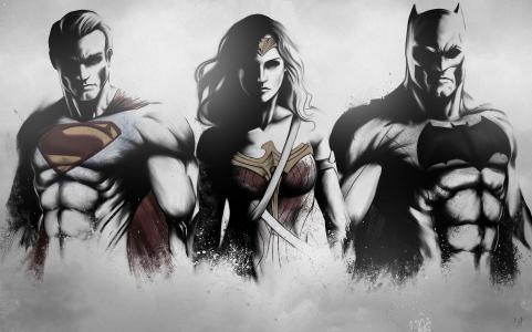 超人,神奇女侠,蝙蝠侠,图稿,素描,粉丝艺术,4k
