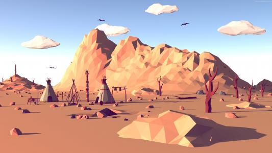 多边形,4k,5k壁纸,风景,大自然,低聚,3D(水平)