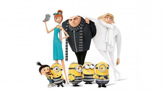 卑鄙的我3,马戈,艾格尼丝,伊迪丝,露西Wilde,小黄人,Gru,Dru,动画,4K