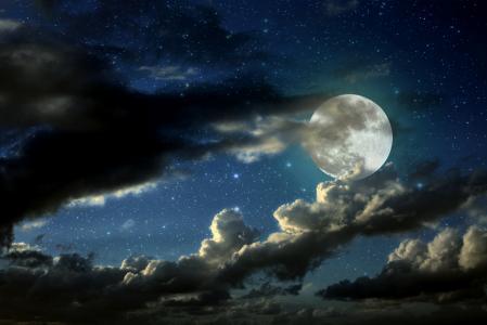 满月,星星,云彩,4K