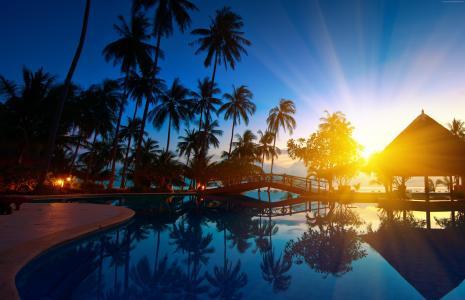 泰国,5k,4k壁纸,2017年最好的海滩,2017年,天堂,树,海,水,棕榈,桥,游泳池,日出,日落,旅行(水平)