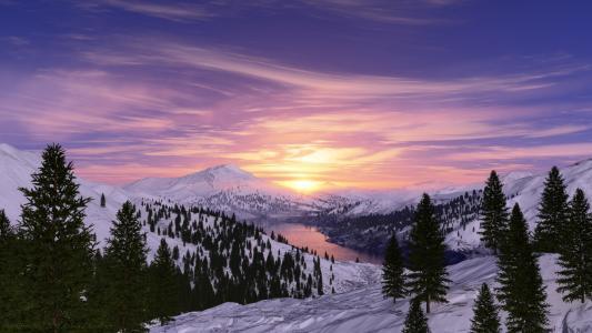 日出,早晨,雪山,湖