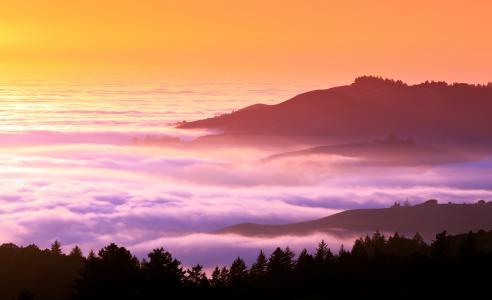 山,日落,黄昏,5K