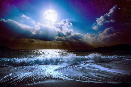 海,5k,4k壁纸,8k,月亮,云,天空(水平)