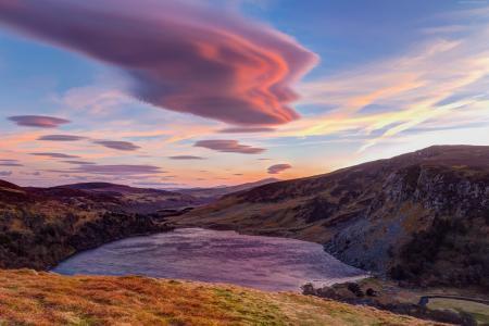山,云,4k,高清壁纸,天空,日落(水平)