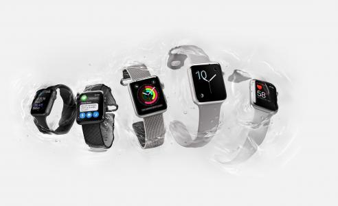 苹果手表系列2,智能手表,iWatch,壁纸,苹果,显示器,银色,真正的未来派小工具(水平)