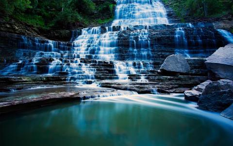 Pongour瀑布,4k,高清壁纸,瀑布,旅游,Pongour,瀑布,大叻,越南,山(水平)