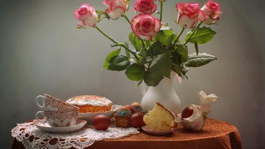 粉白玫瑰精致唯美静物写真
