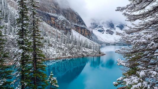 冰Lake湖,雪,冬天,4K