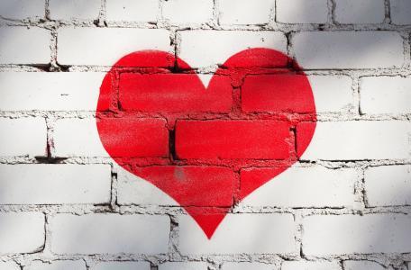 爱的心,红色,砖墙,彩绘的墙,4 k