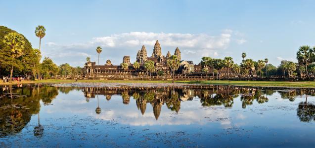 柬埔寨,建筑,湖,树,5k(水平)