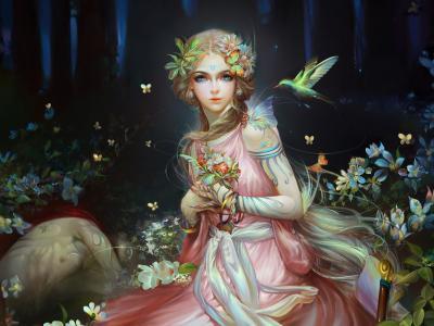 幻想女孩,美丽,童话,图稿,4 k