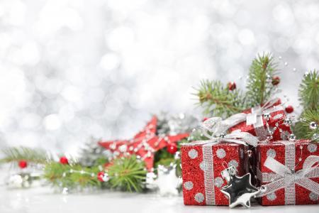 圣诞节,新年,装饰品,球,明星,礼物(水平)