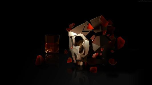 头骨,3D,玻璃,HD(水平)