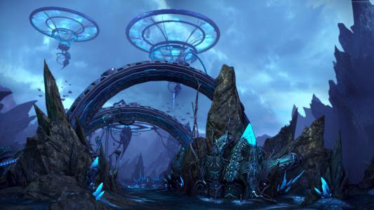 Tera Online,游戏,MMORPG,魔术,蓝色,岩石,祭坛,景观,Argons土地,截图,4k,5k,PC(水平)