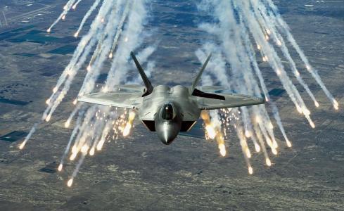 猛禽F-22,马丁射击,隐身,空中优势战斗机,美国空军(横向)