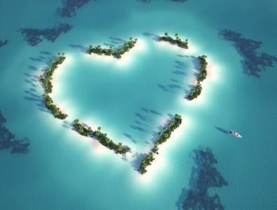 心岛,爱心,高清,5K