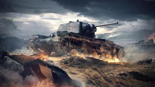 世界的坦克闪电战,游戏,战术,mmo,坦克,KV-1,战场,火花,云,天空,战斗,火,截图,4k,5k,个人电脑,2015(水平)