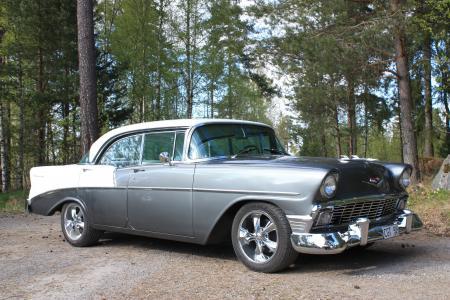 雪佛兰210,双十,老爷车,雪佛兰,雪佛兰,1956,轿车,蓝色,森林(水平)