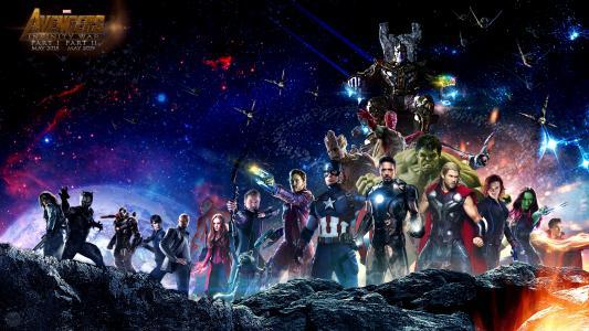 复仇者联盟:无限战争,粉丝艺术,美国队长,钢铁侠,雷神,绿巨人,黑寡妇,鹰眼,洛基,战争机器,视觉,斯嘉丽女巫,猎鹰,巴基,黑豹,医生奇怪,蜘蛛侠,Star-Lord