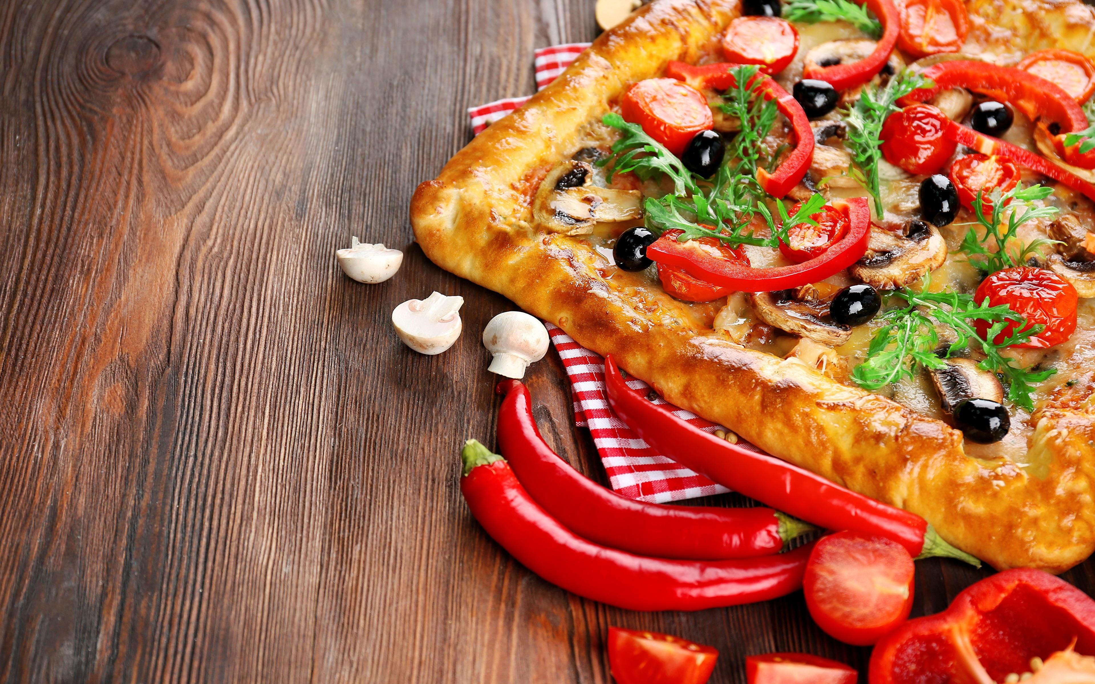 披萨,番茄,胡椒粉,4k(水平)